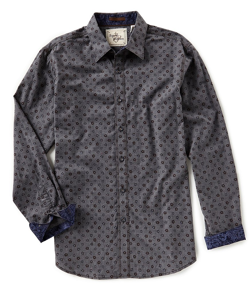 Age of Wisdom Floral Print Long-Sleeve Woven Shirt