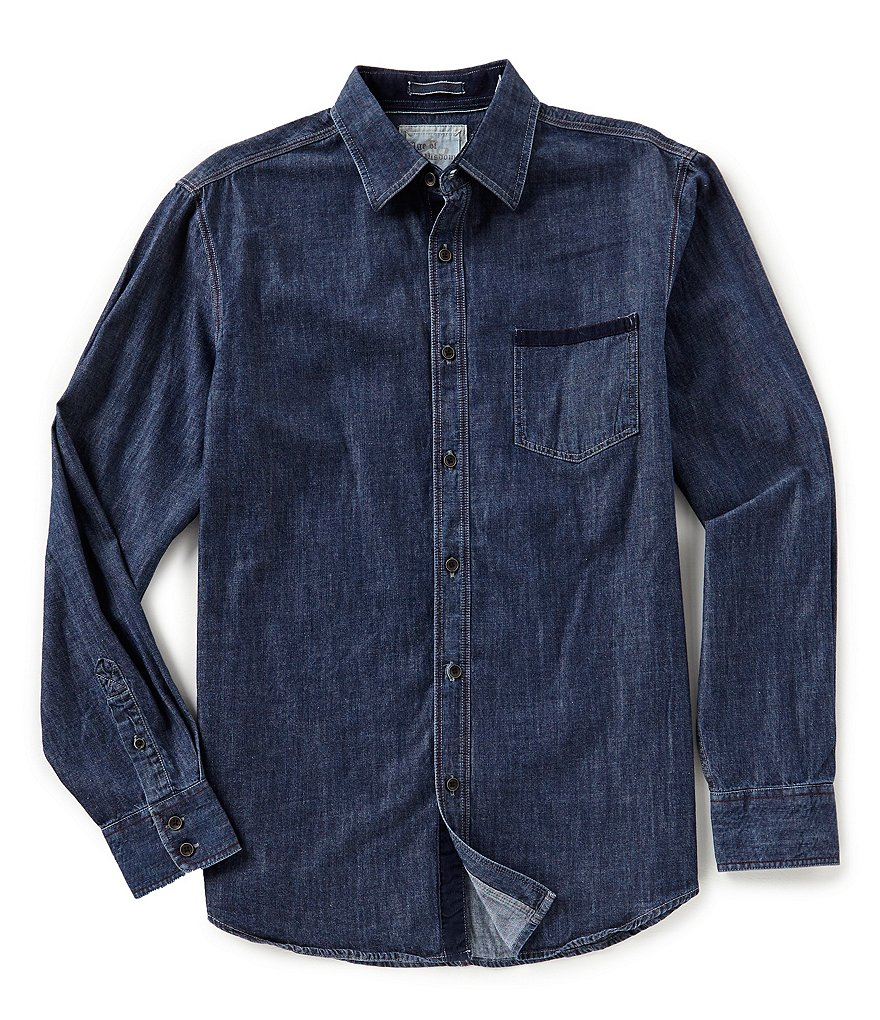 Age of Wisdom Solid Denim Long-Sleeve Woven Shirt