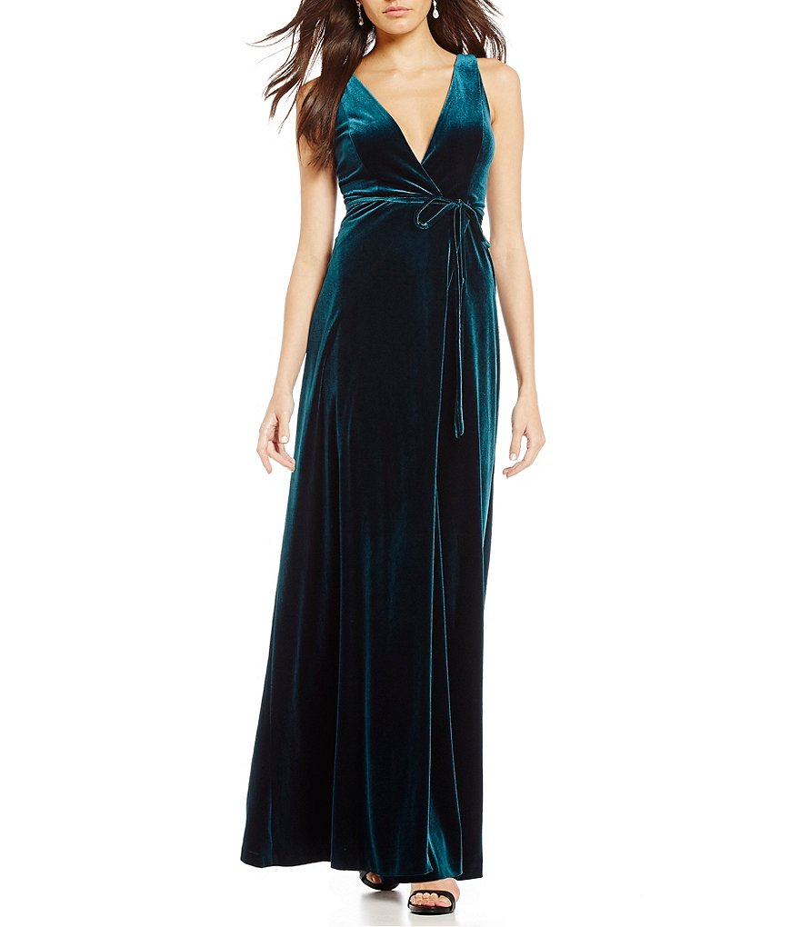 Aidan Aidan Mattox Velvet Wrap Dress