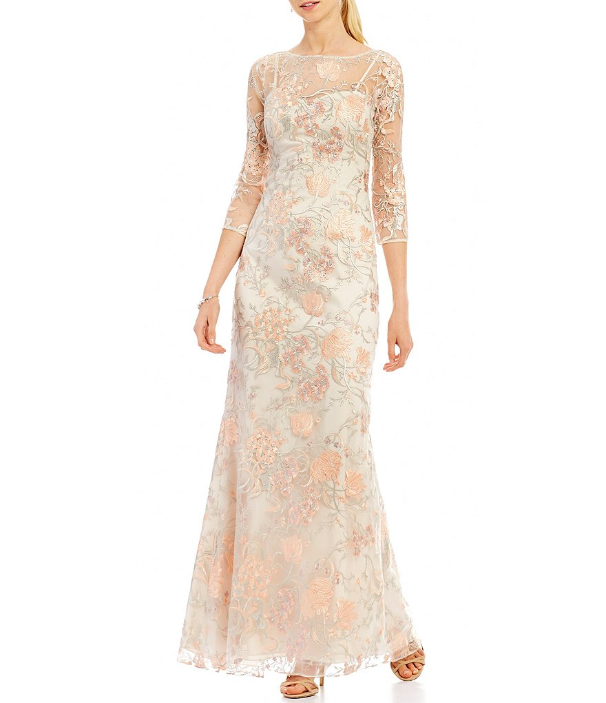 Aidan Mattox Embroidered Lace Gown