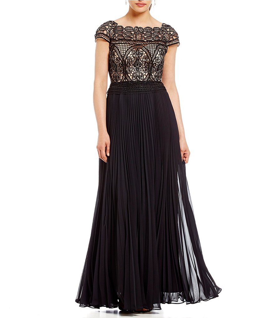 Aidan Mattox Off-The-Shoulder Embroidered Lace Gown