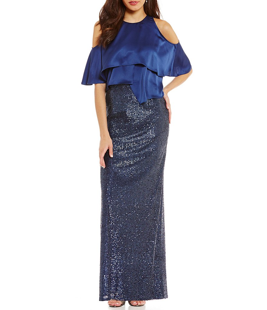 Aidan Mattox Satin Tiered Pop Over Sequin Gown