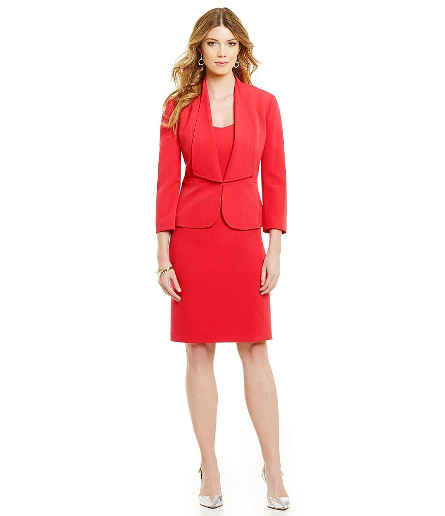 Albert Nipon Ruffle-Front Crepe Jacket Dress Suit