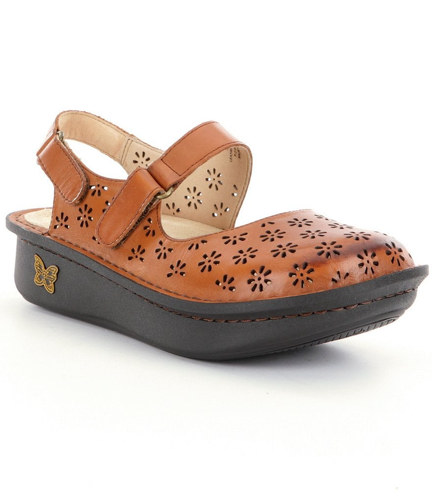 Alegria Jemma Hand-Stitched Perforated Leather Mary Jane Clogs