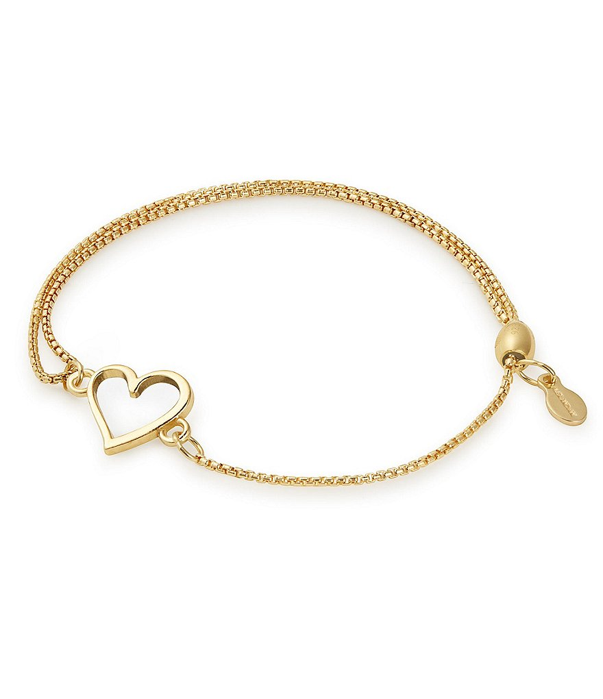Alex and Ani 14K Gold Heart Pull Chain Bracelet