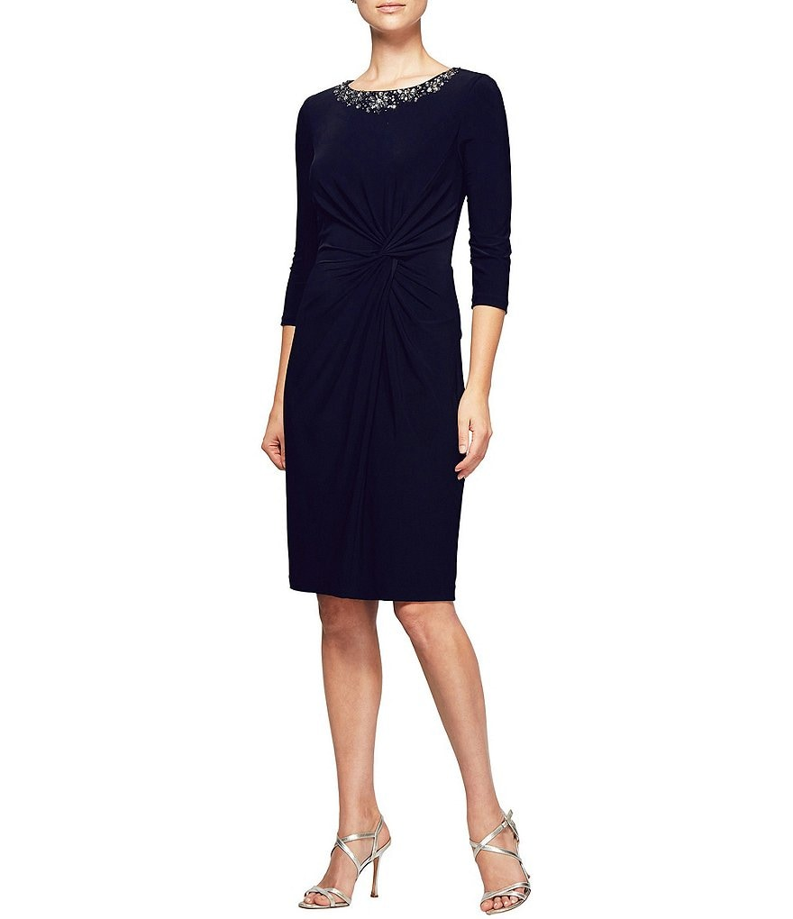 Alex Evenings Beaded Neck Twist Front Dress