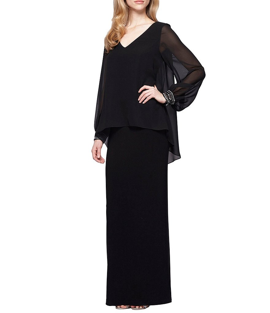 Alex Evenings Beaded-Cuff Popover Column Gown