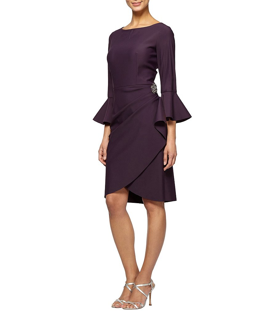 Alex Evenings Bell-Sleeve Stretch Jersey Sheath Dress