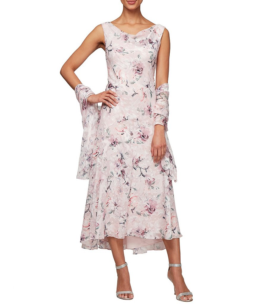 Alex Evenings Burnout Floral Print Sleeveless Shift Midi Dress