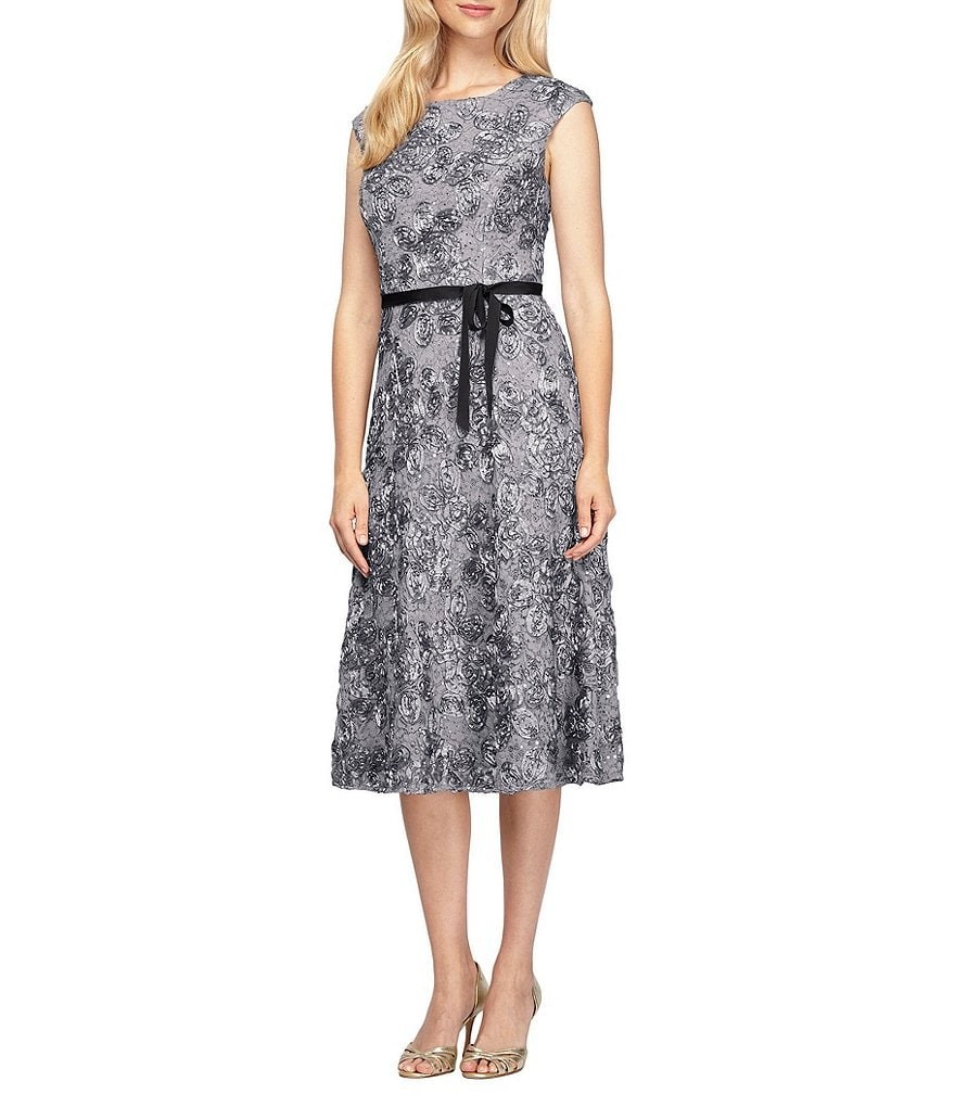 Alex Evenings Cap Sleeve Belted Rosette Tea-Length Dress