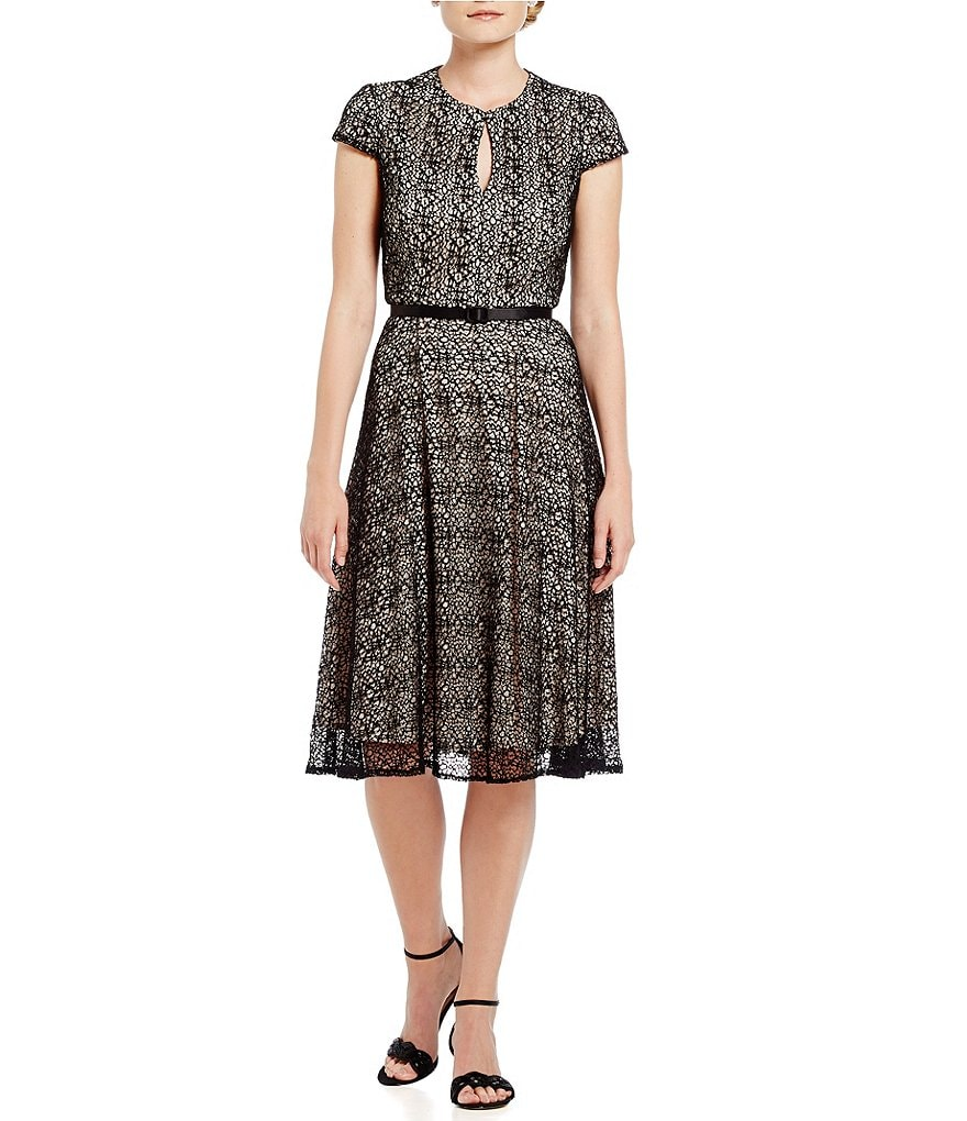 Alex Evenings Cap-Sleeve Belted Tea-Length Dress