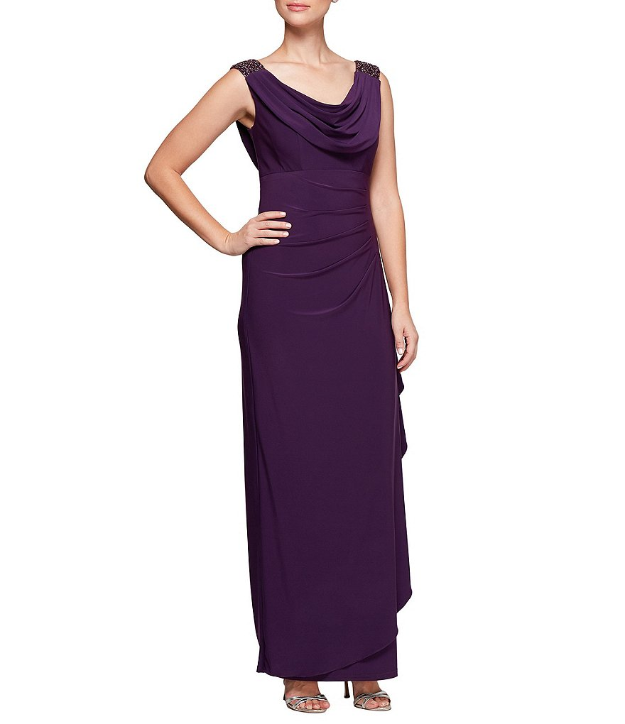 Alex Evenings Cowl Neckline A-Line Dress
