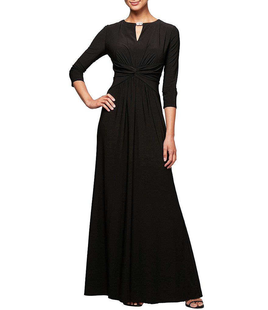 Alex Evenings Embellished Keyhole Ruched Waist Gown
