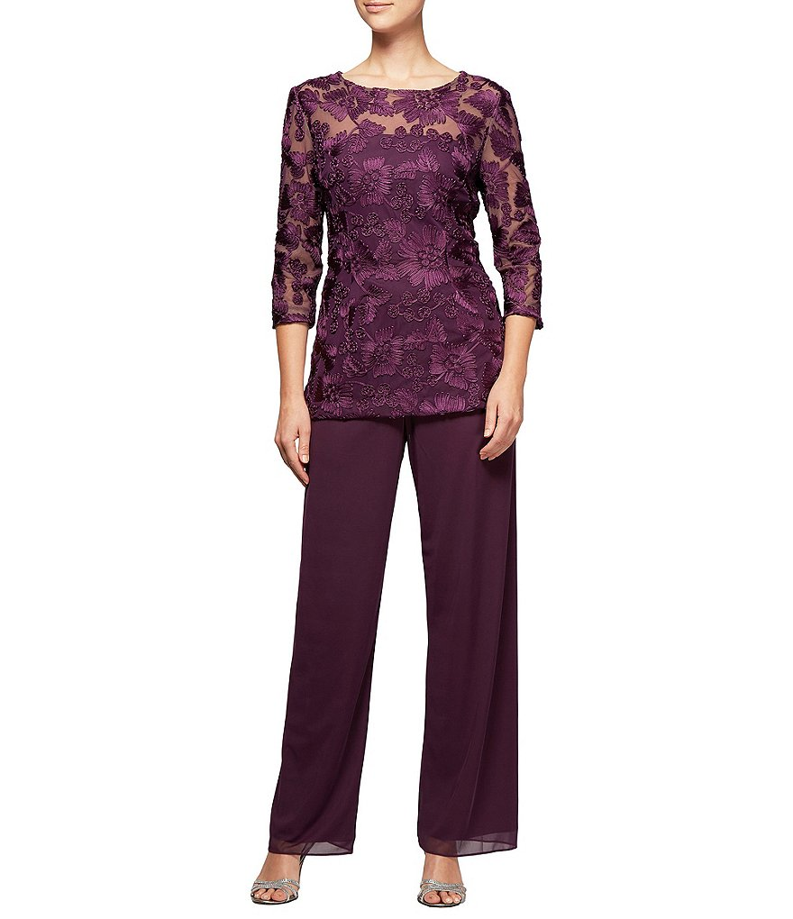 Alex Evenings Embroidered 2-Piece Pant Set