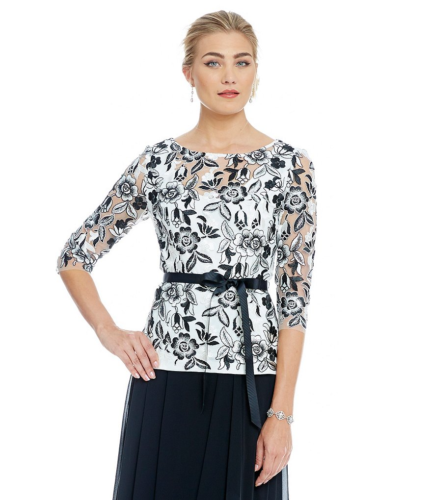 Alex Evenings Embroidered Illusion Neckline Top