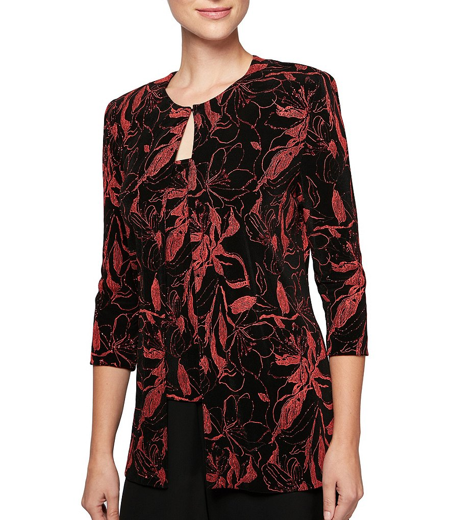 Alex Evenings Floral-Print Slinky Twinset