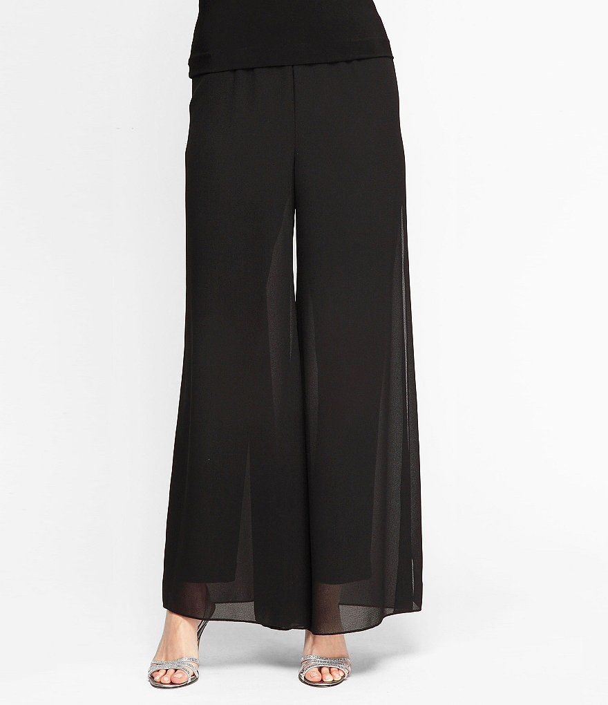 Alex Evenings Georgette Straight-Leg Slim Pants