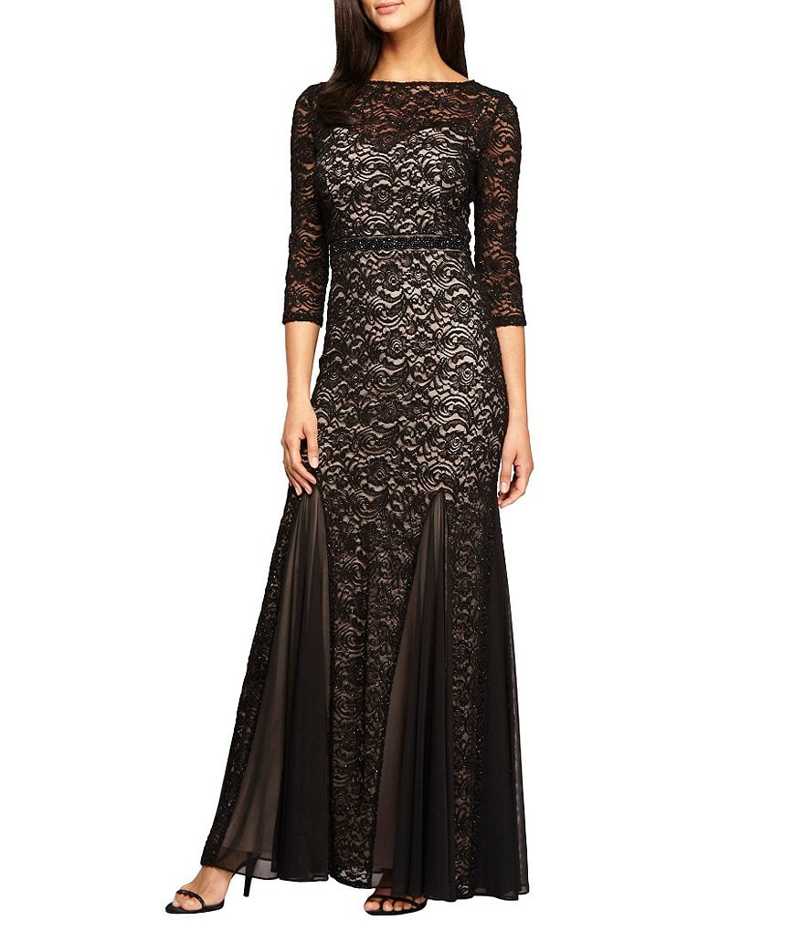 Alex Evenings Illusion Embellished Fit-and-Flare Lace Gown