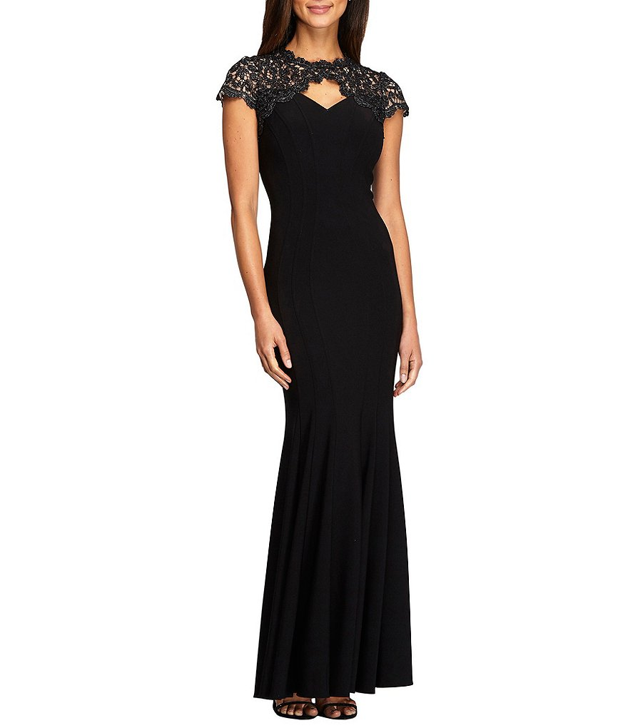 Alex Evenings Lace Sleeve Fit-and-Flare Gown