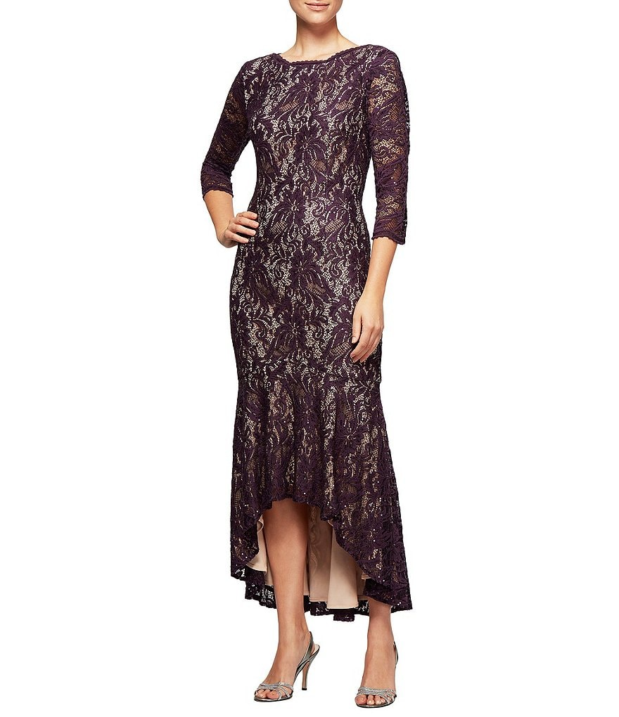 Alex Evenings Lace Tea-Length Hi-Low Gown