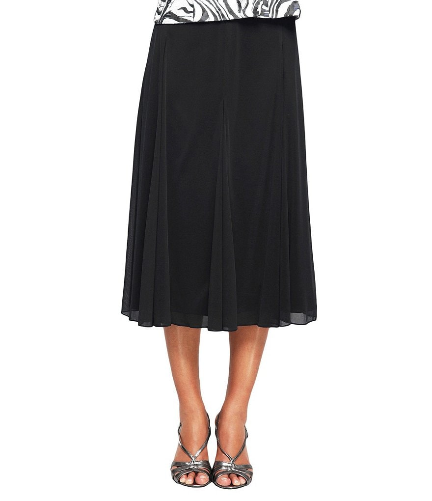 Alex Evenings Mesh Tea Length Skirt