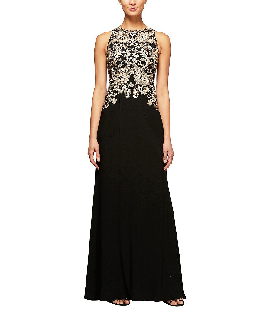 Alex Evenings Metallic Embroidered Matte Jersey Gown