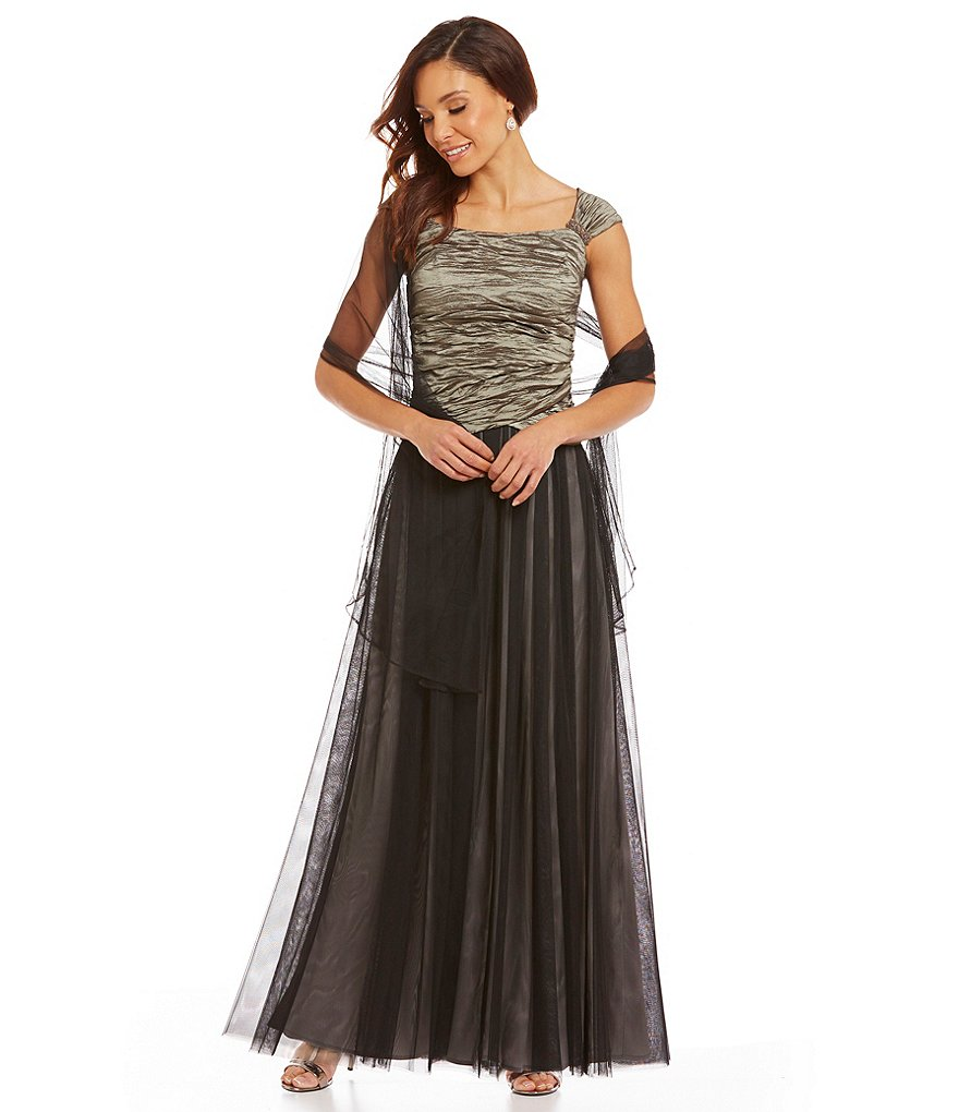 Alex Evenings Mock 2-Piece A-line with Shawl Gown