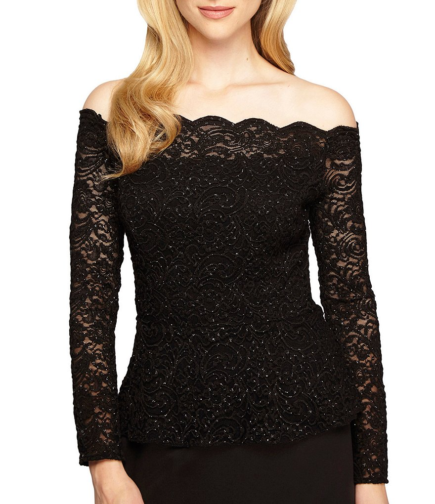 Alex Evenings Off-The-Shoulder Long Sleeve Lace Blouse