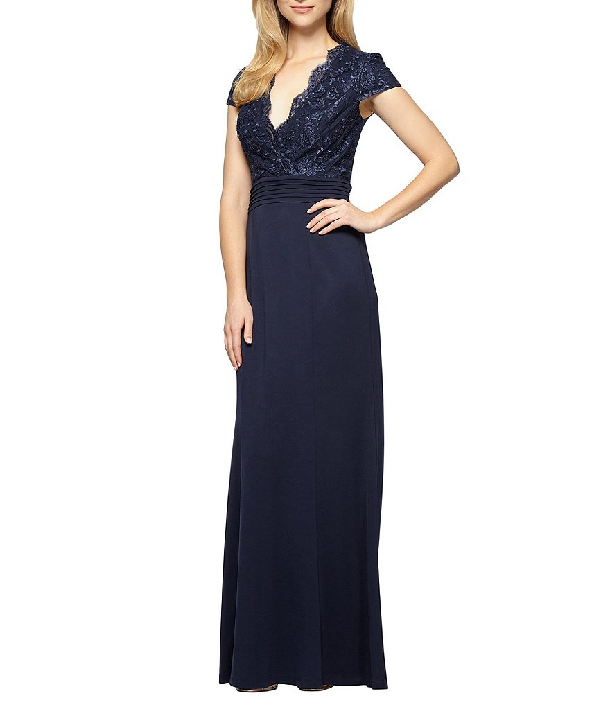 Alex Evenings Petite Cap-Sleeve Embroidered Gown