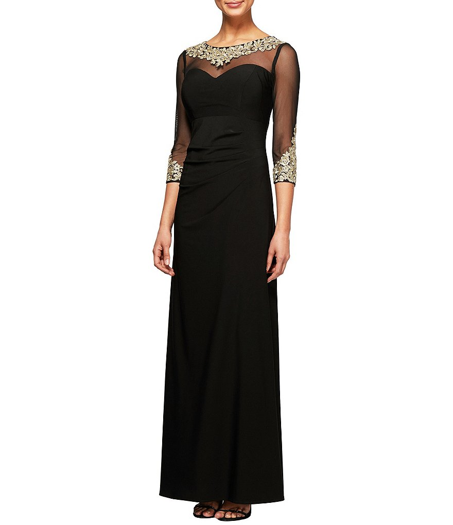 Alex Evenings Petite Embroidered Neckline Illusion Sleeve Gown