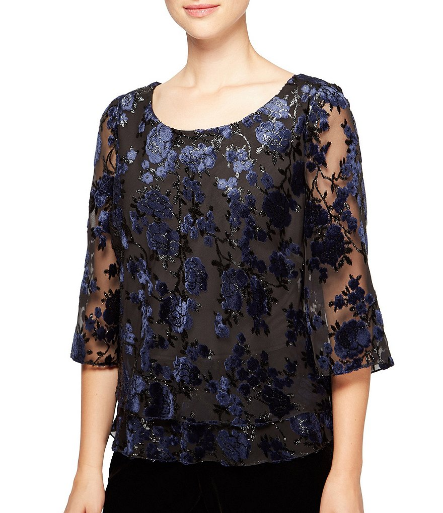 Alex Evenings Petite Flocked Velvet Floral Blouse