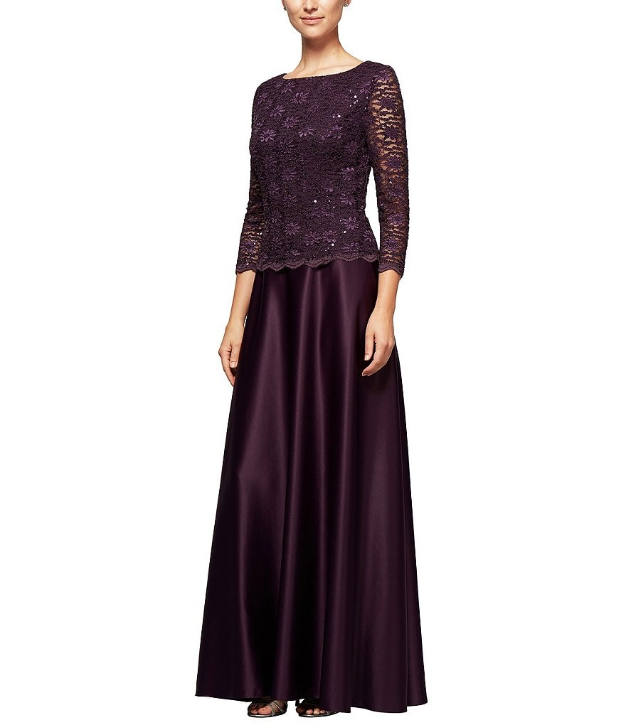 Alex Evenings Petite Lace Mock 2-Piece Gown