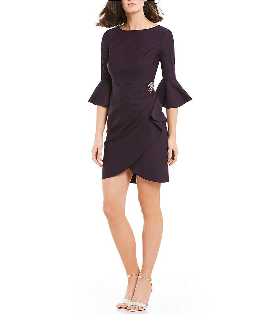 Alex Evenings Petite Size Bell Sleeve Stretch Jersey Embellished Sheath Dress