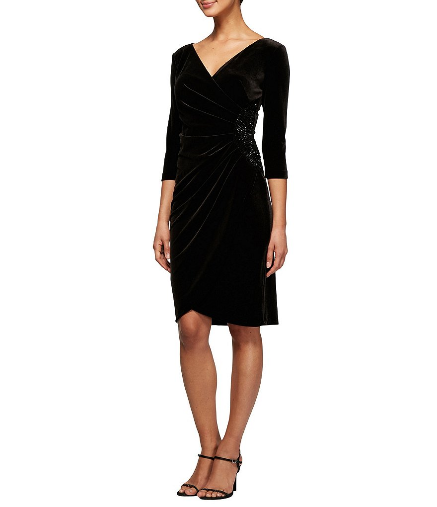Alex Evenings Petite Stretch Velvet Ruched Wrap Dress