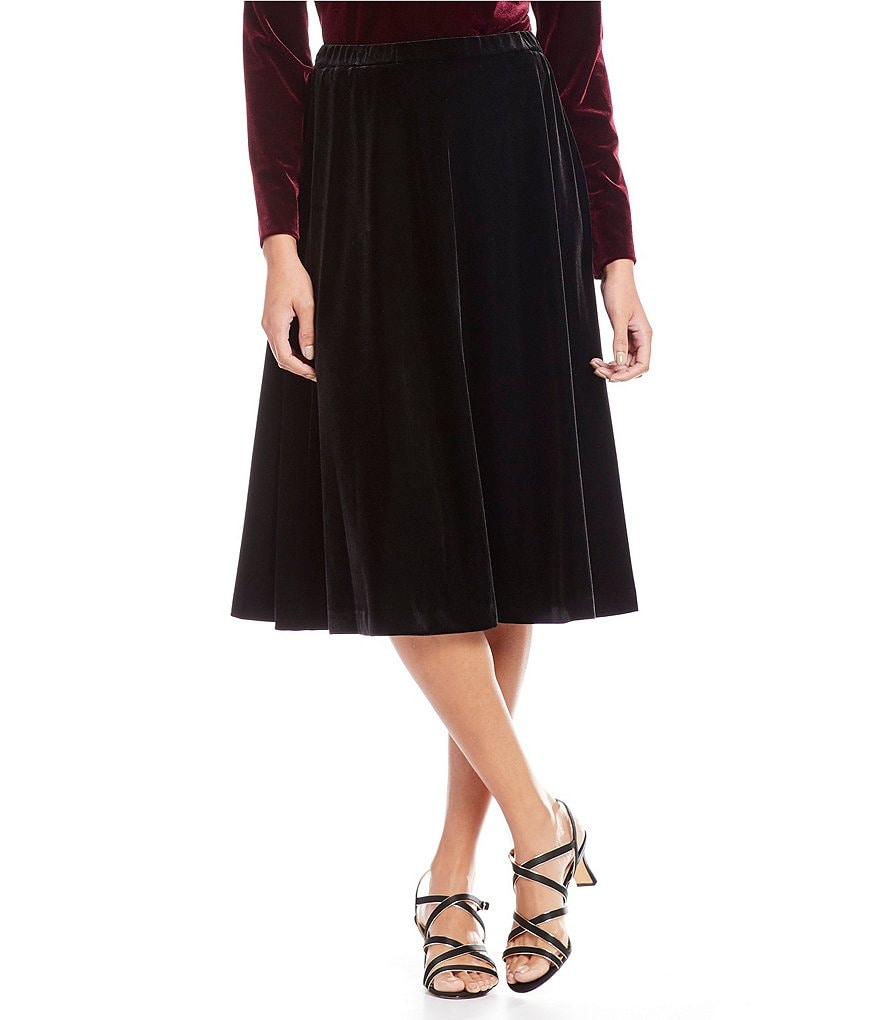 Alex Evenings Petite Velvet Tea-Length Skirt