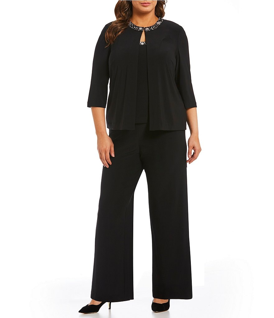 Alex Evenings Plus 3-Piece Beaded Detail Pant Set