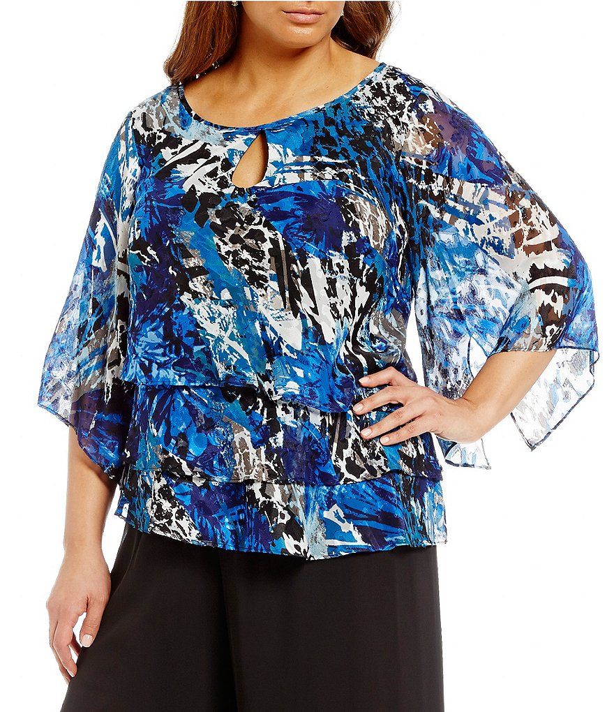Alex Evenings Plus 3/4-Sleeve Floral Tiered Blouse