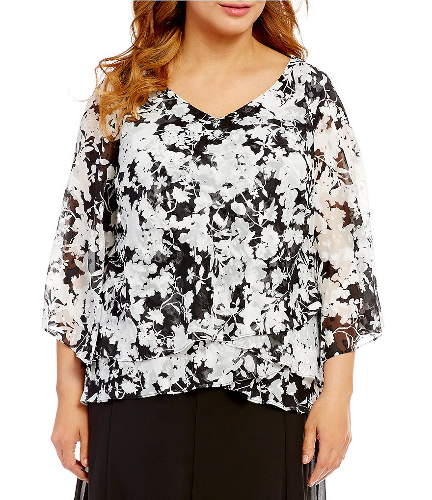 Alex Evenings Plus 3/4-Sleeve Printed Tiered Blouse