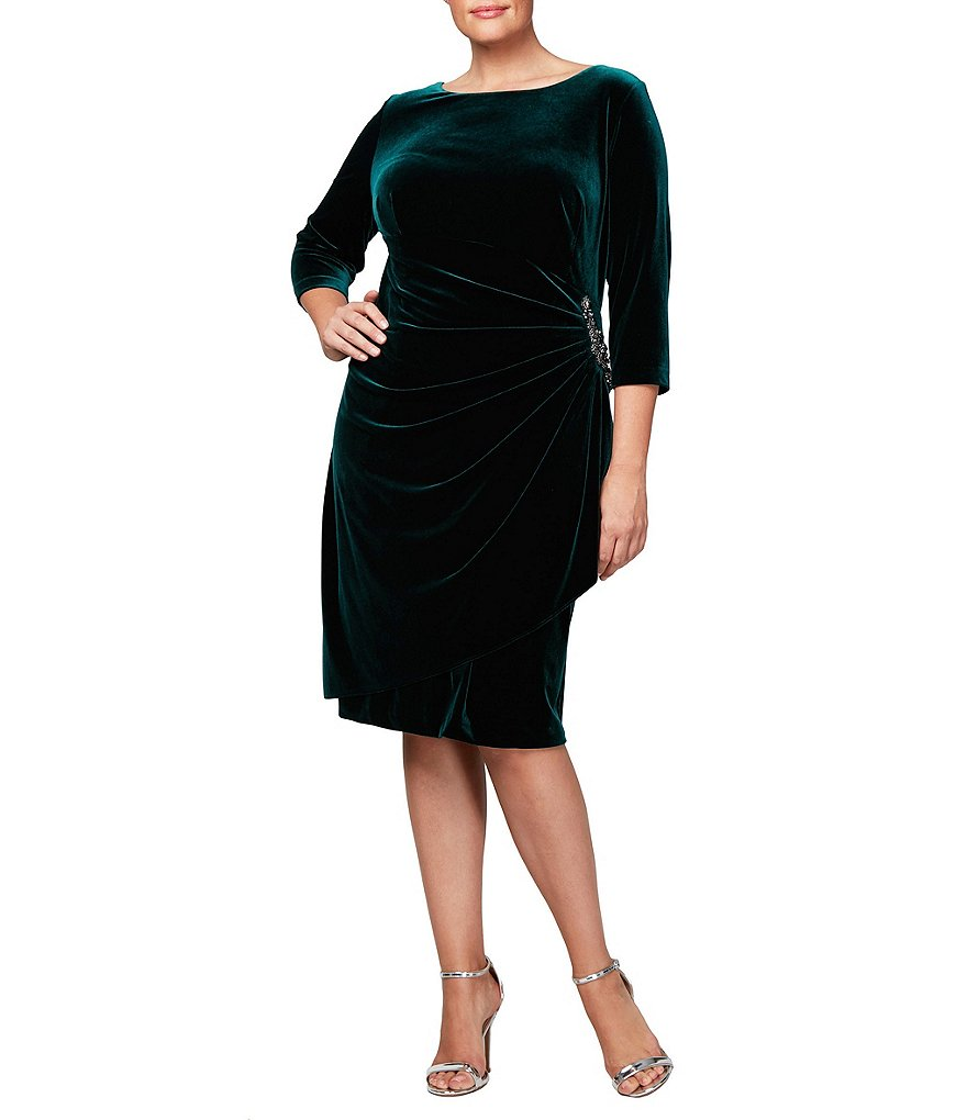 Alex Evenings Plus 3/4-Sleeve Ruched Velvet Dress