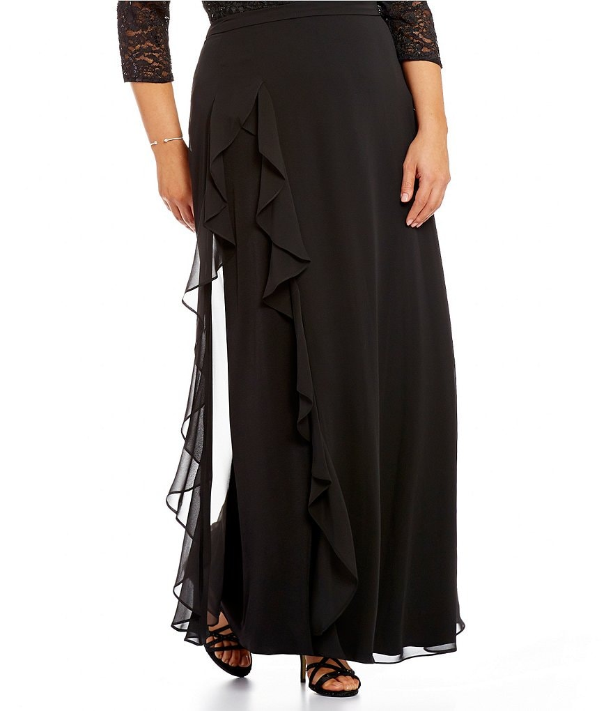 Alex Evenings Plus A-Line Ruffle Chiffon Skirt