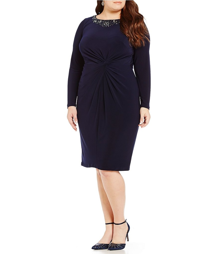 Alex Evenings Plus Beaded Neck Twist-Front Dress