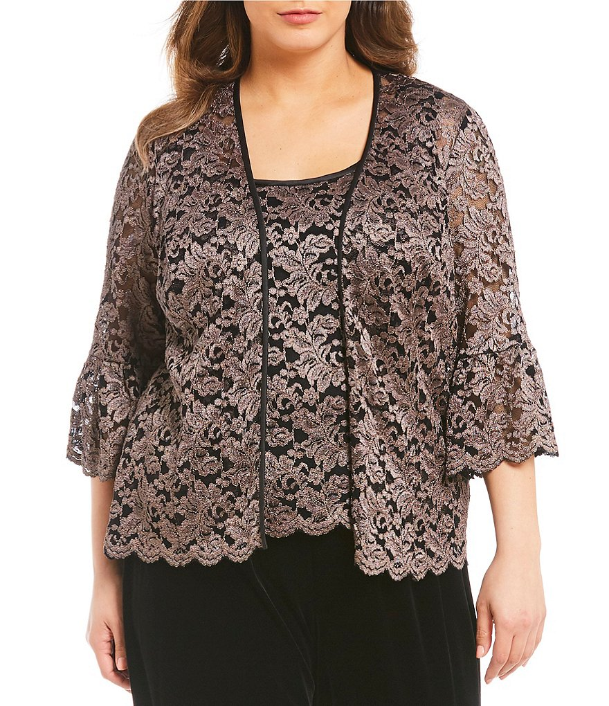 Alex Evenings Plus Bell-Sleeve Metallic Lace Twinset