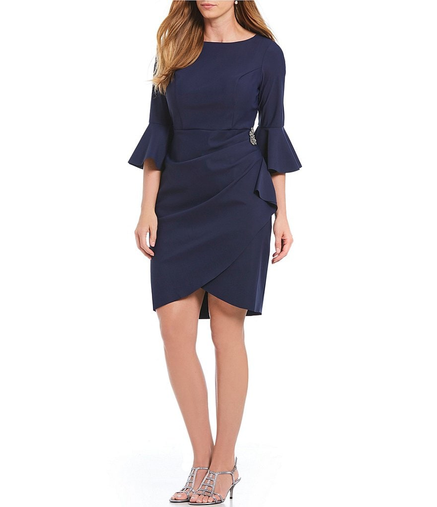 Alex Evenings Plus Bell Sleeve Sheath Dress
