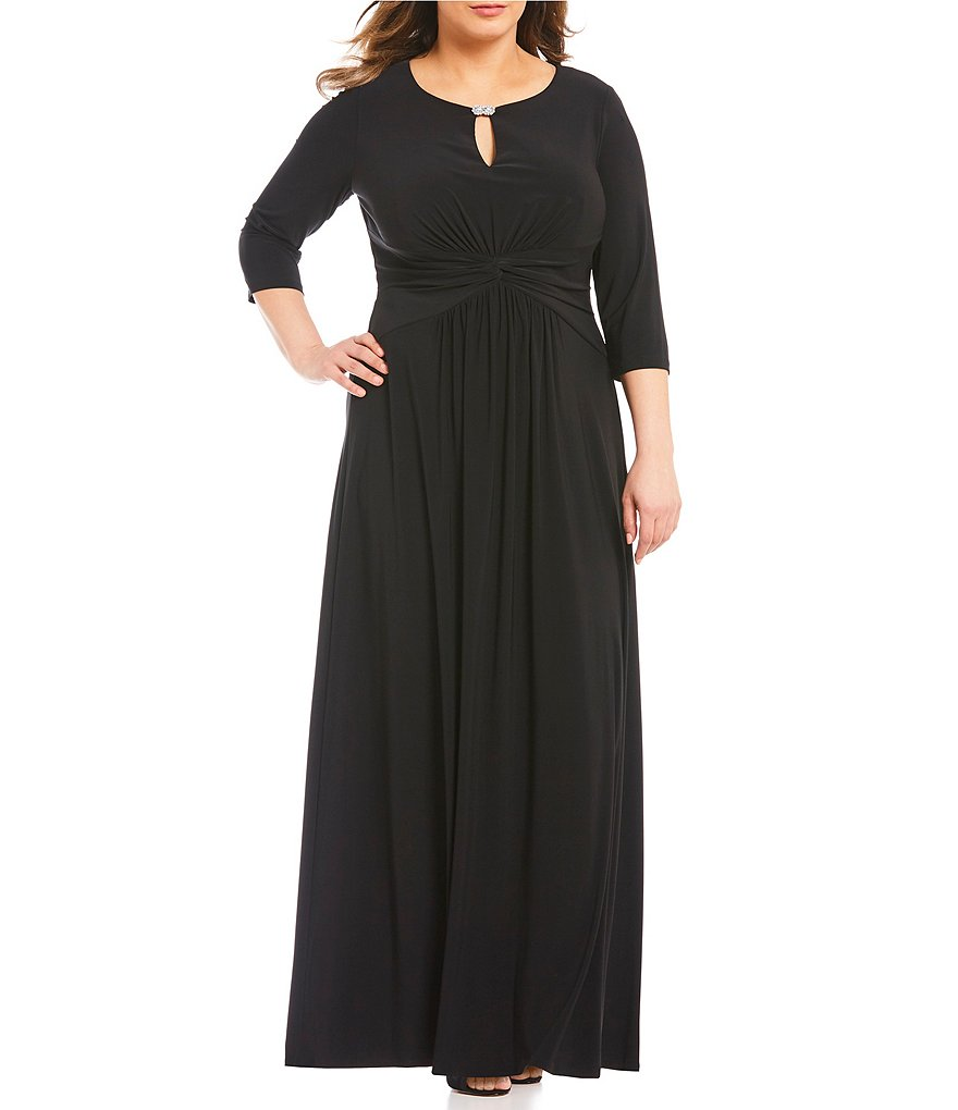 Alex Evenings Plus Embellished Keyhole Ruched Waist Gown