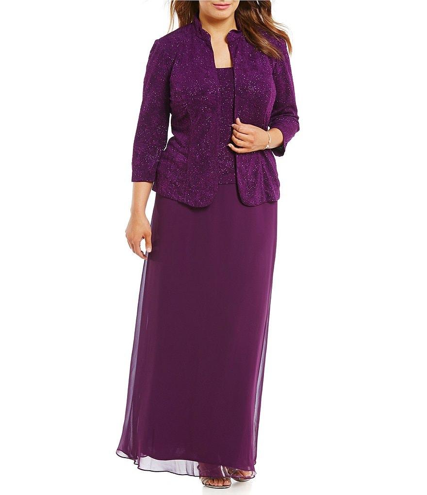 Dillards Wedding Gifts: Alex Evenings Plus Jacquard Jacket Dress