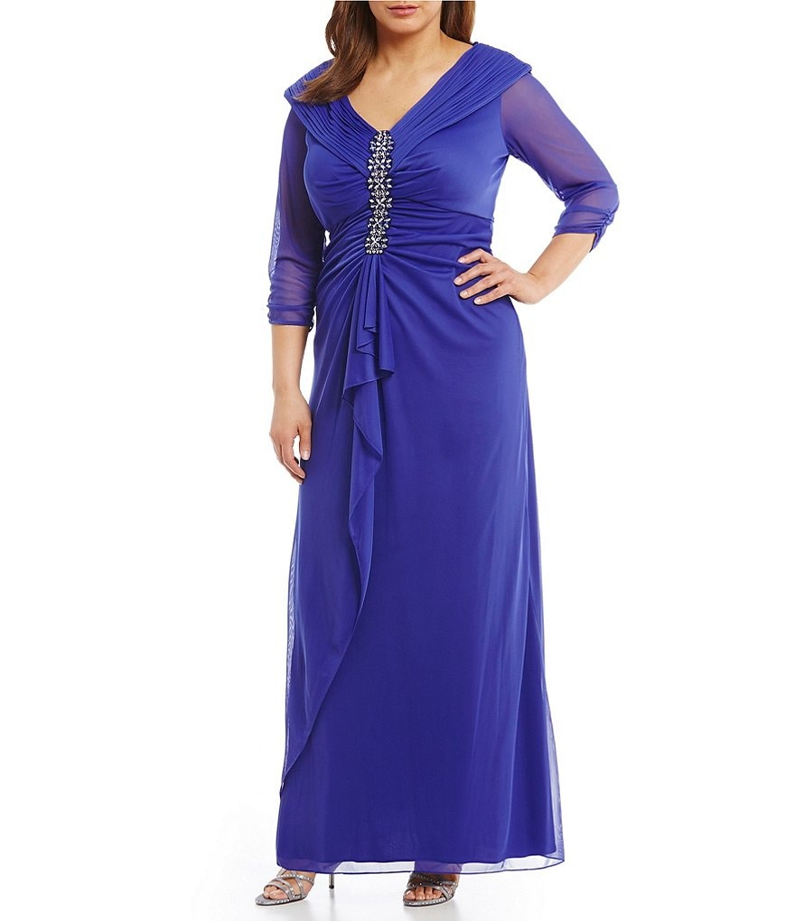 Alex Evenings Plus Portrait-Collar Bead-Detail Gown