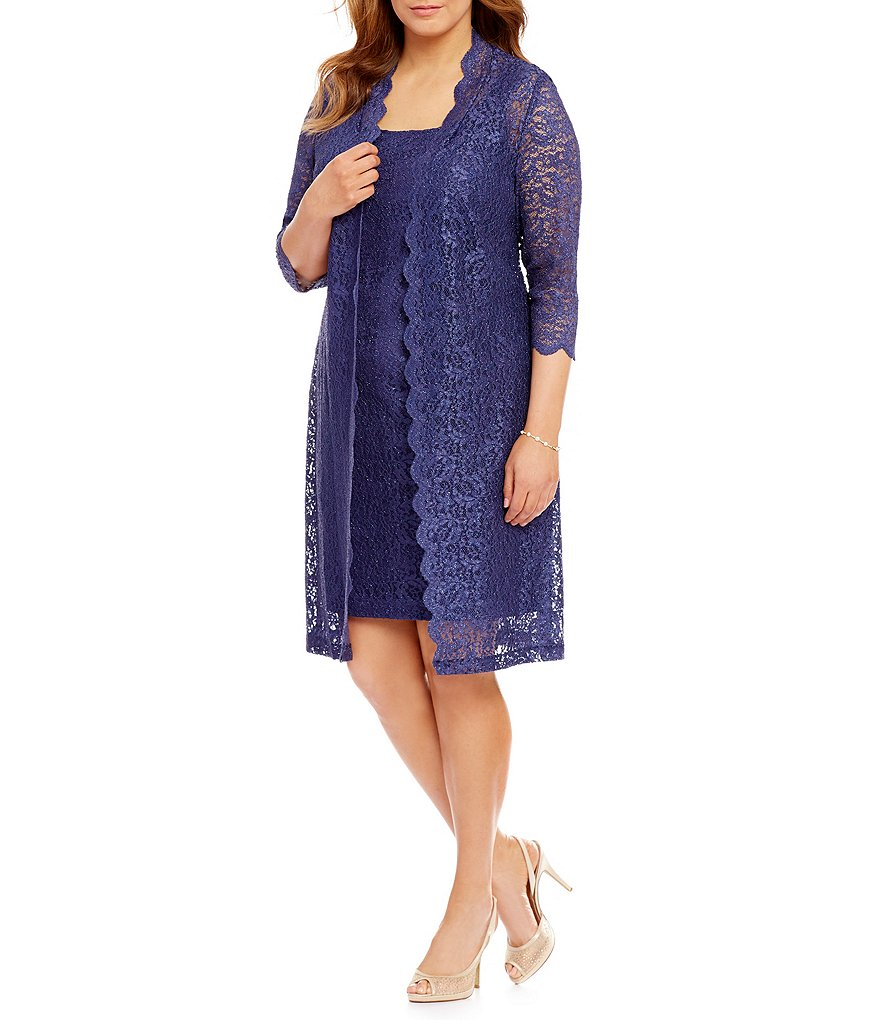 Alex Evenings Plus Scalloped Lace 2-Piece Jacket Dress | Dillards