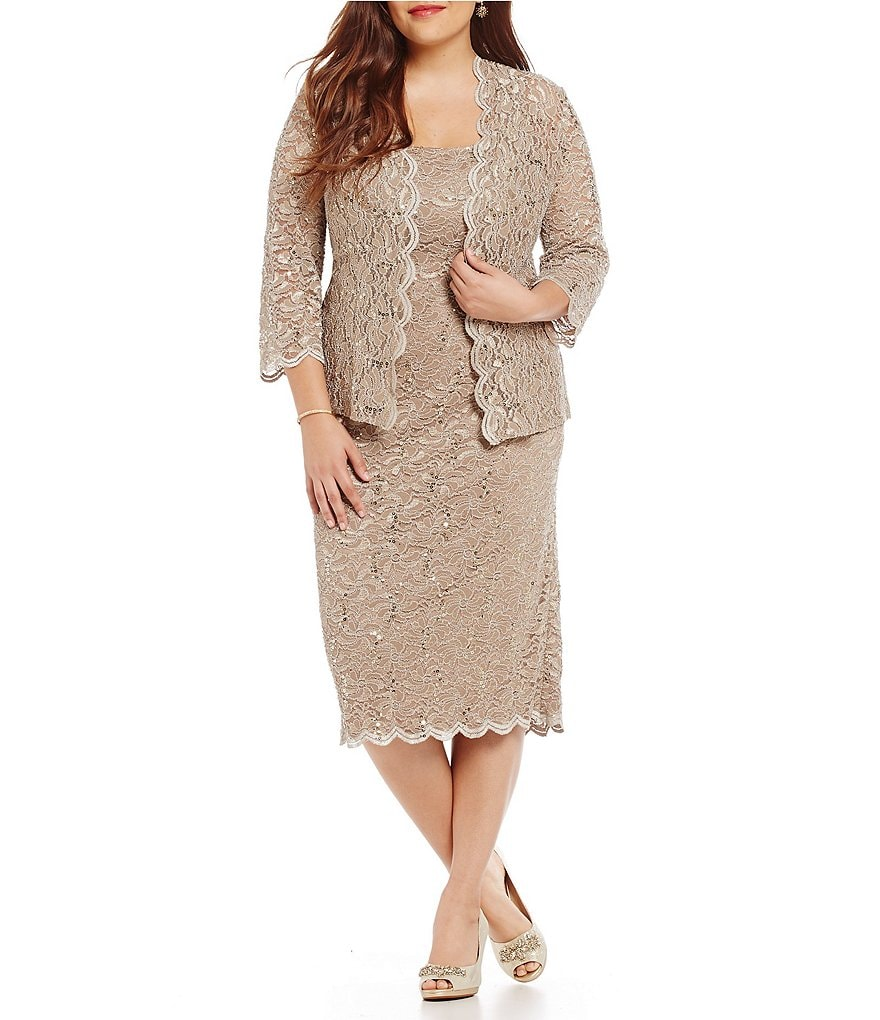 Alex Evenings Plus Sequined Lace Tea Length Jacket Dress