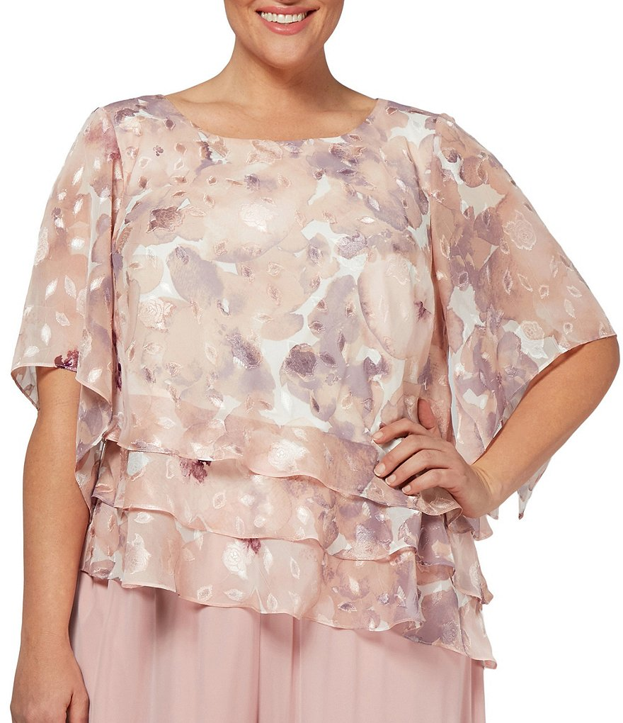 Alex Evenings Plus Size Printed Asymmetrical Tiered Hem Blouse