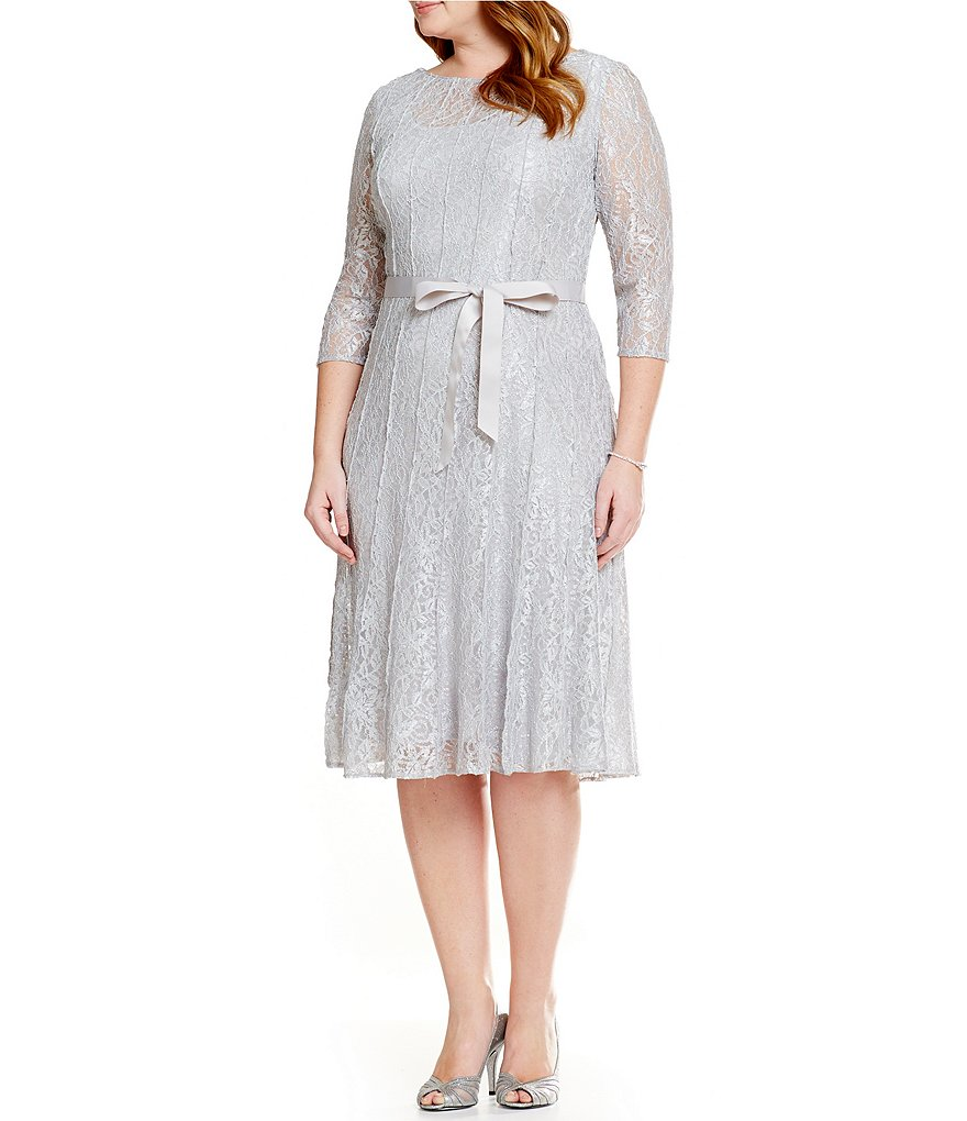 Alex Evenings Plus T-Length Tie Belt Dress